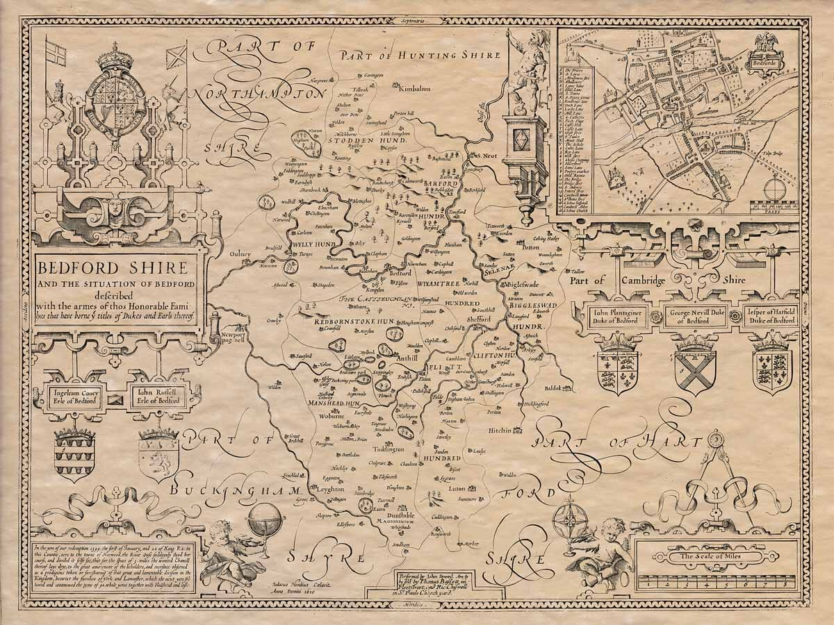 Old Map of Bedfordshire 1610