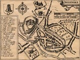 Detail from an old map of Brekon featuring a town plan