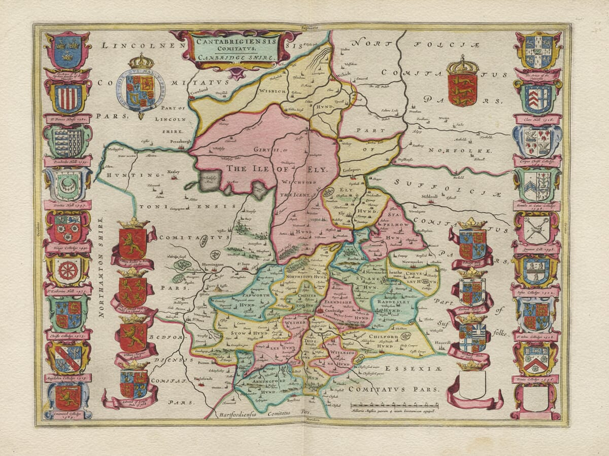 Old Map of Cambridgeshire 1645