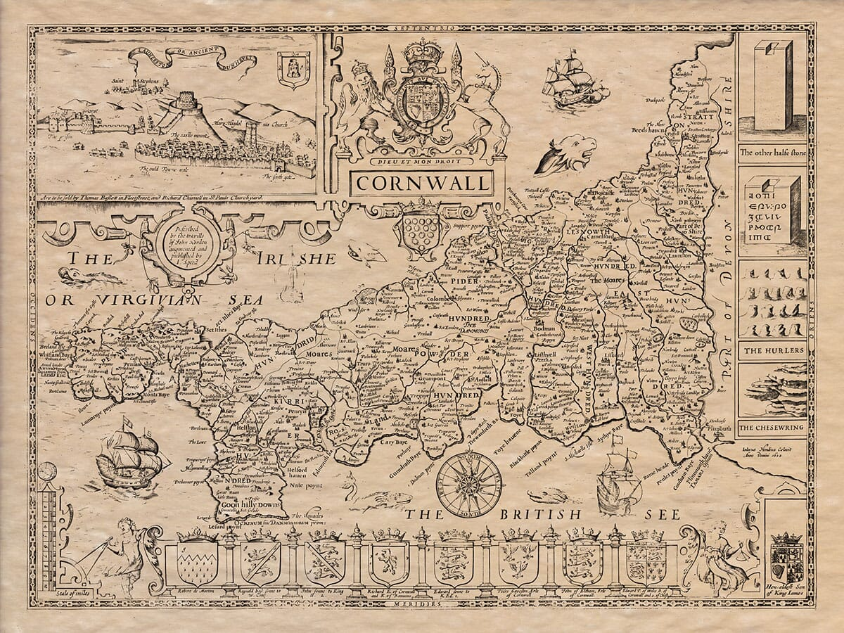 Old Map of Cornwall