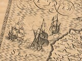 Galleons decorating an-old map