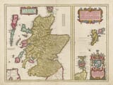 Hand Coloured map of Scotland