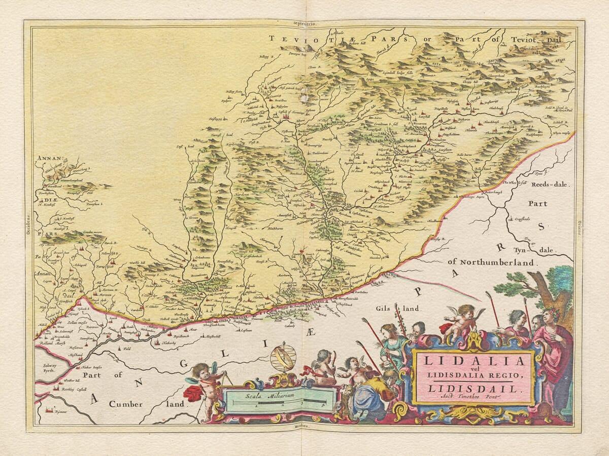 Antique Map of Liddesdale, Scotland