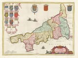 Old Map of Cornwall - 1645