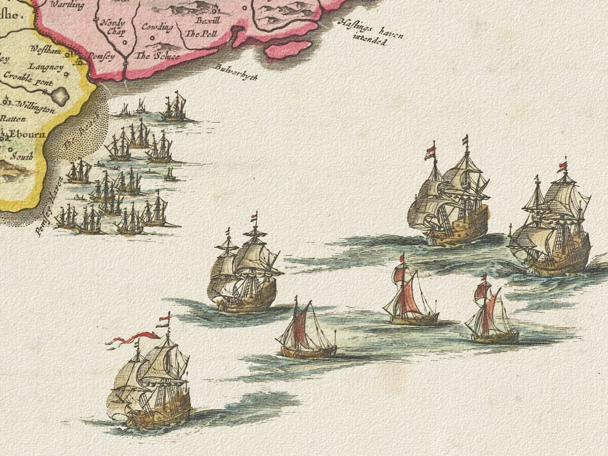 Detail from Sussex Map 1645