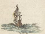 Sailing Ship on old map