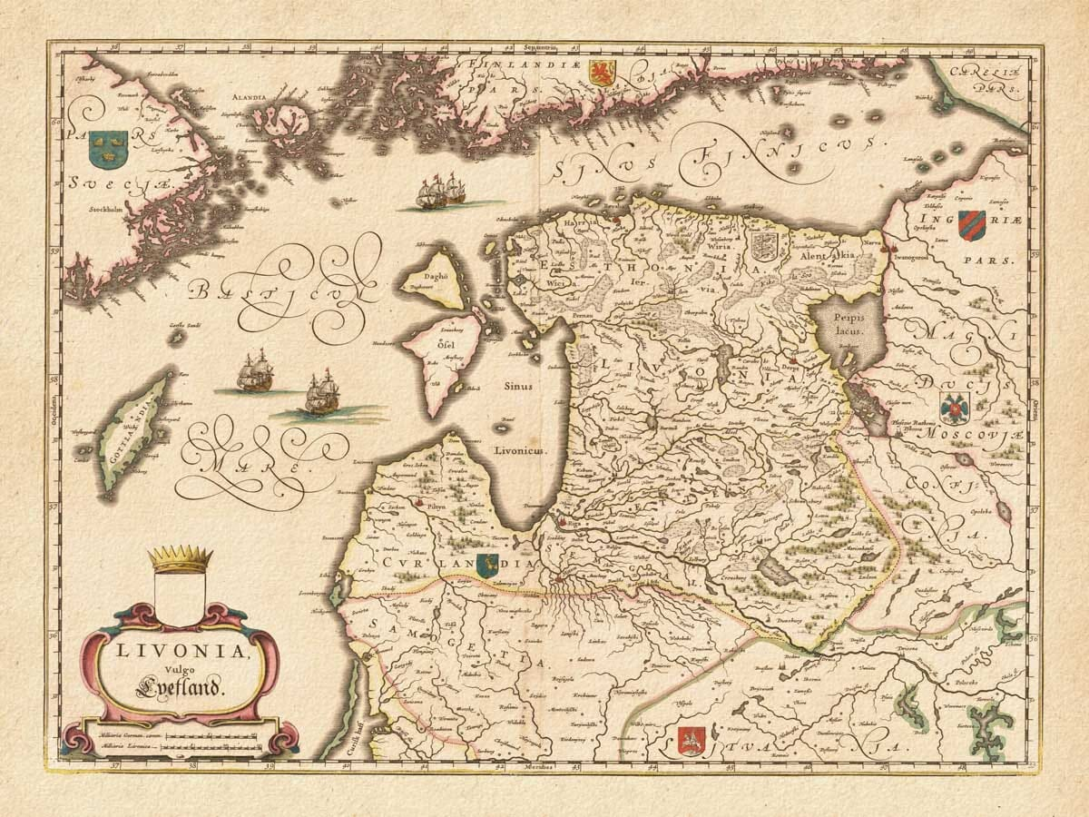 Old Map of Latvia
