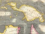 Old Map Australia, New Zealand and New Guinea detail