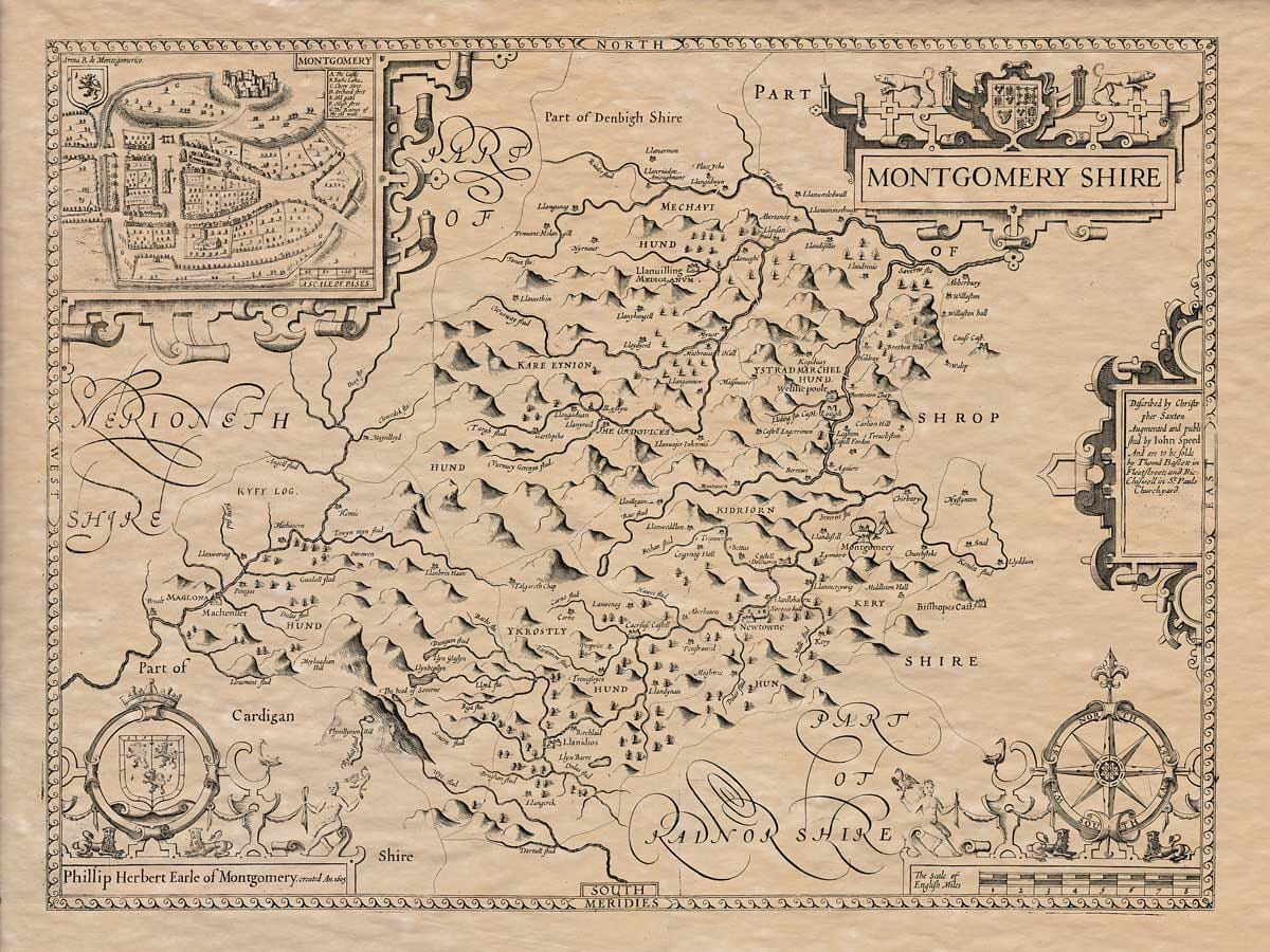 An old map of Montgomeryshire