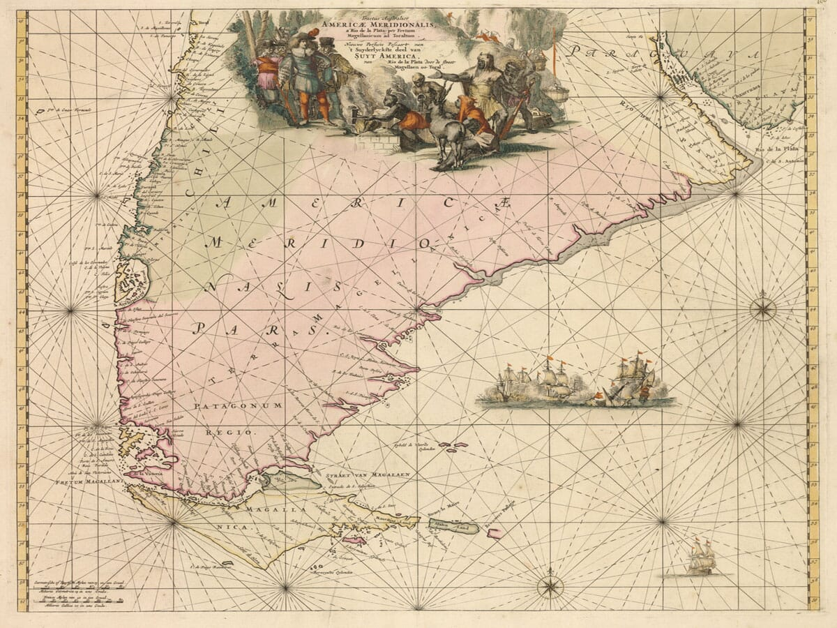 Old Map of Chile