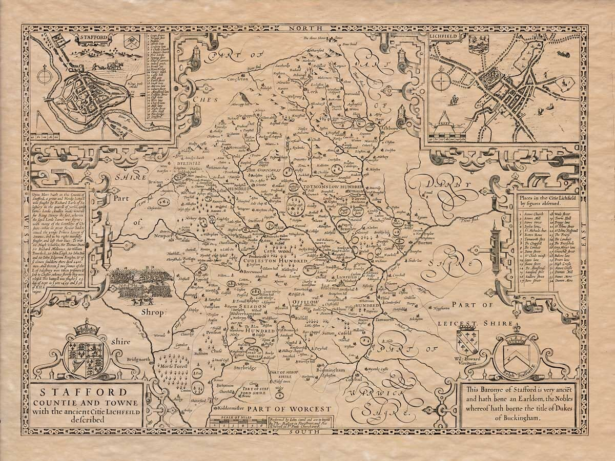 Old Map of Staffordshire