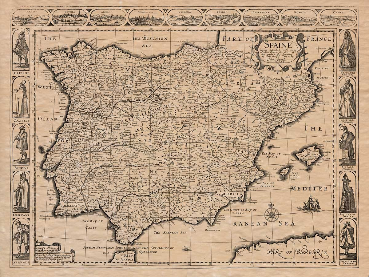 Old Map of Spain