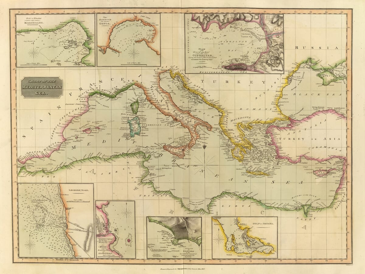 Old Mediterranean Sea Chart