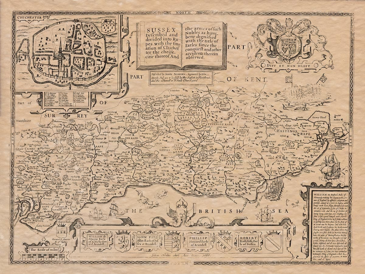 Old Map of Sussex
