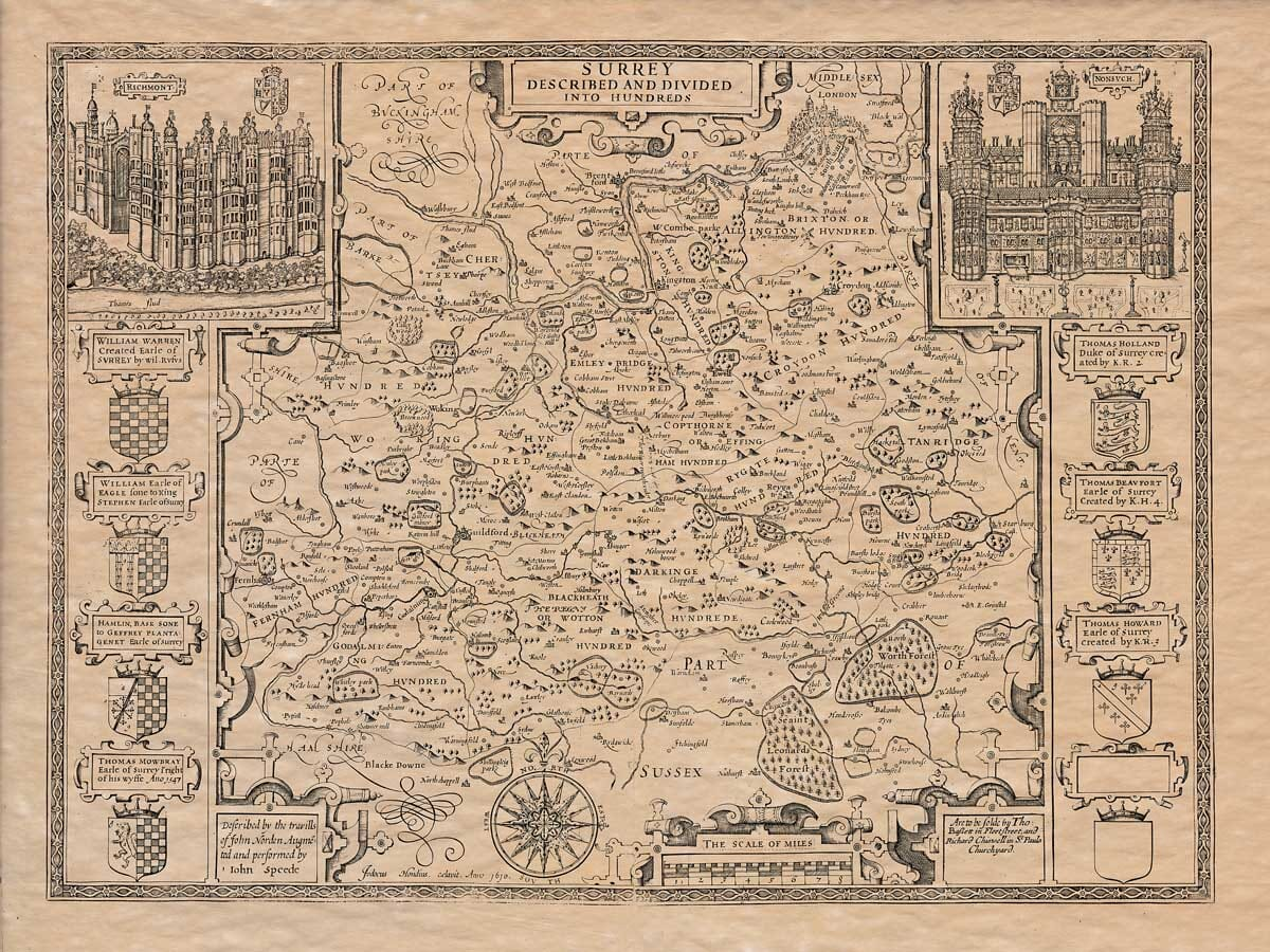 Old Map of Surrey