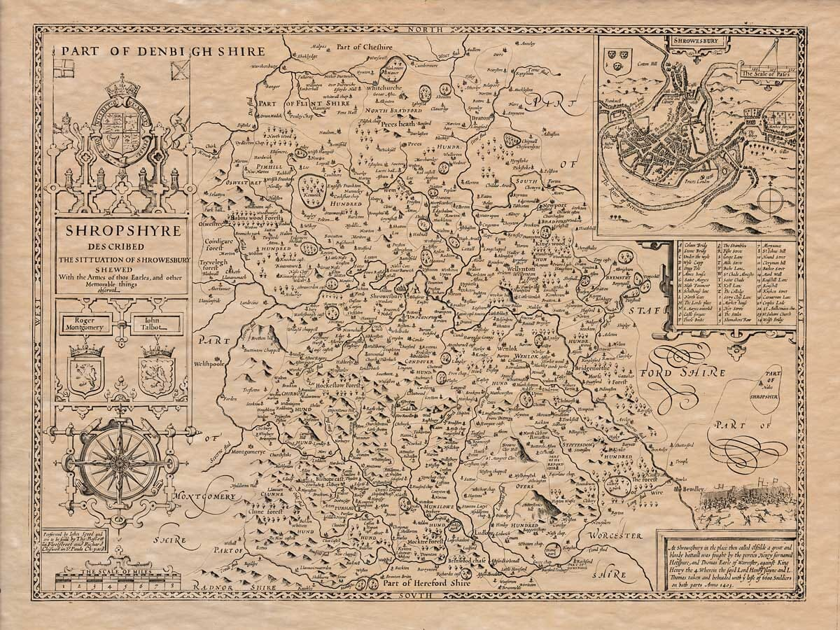 Old Map of Shrophire
