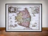 Framed Map of Corsica