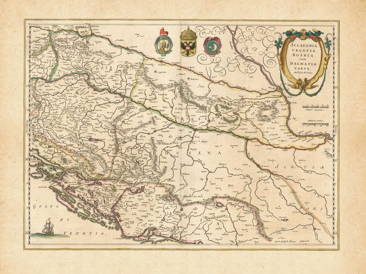 Old Map of Croatia