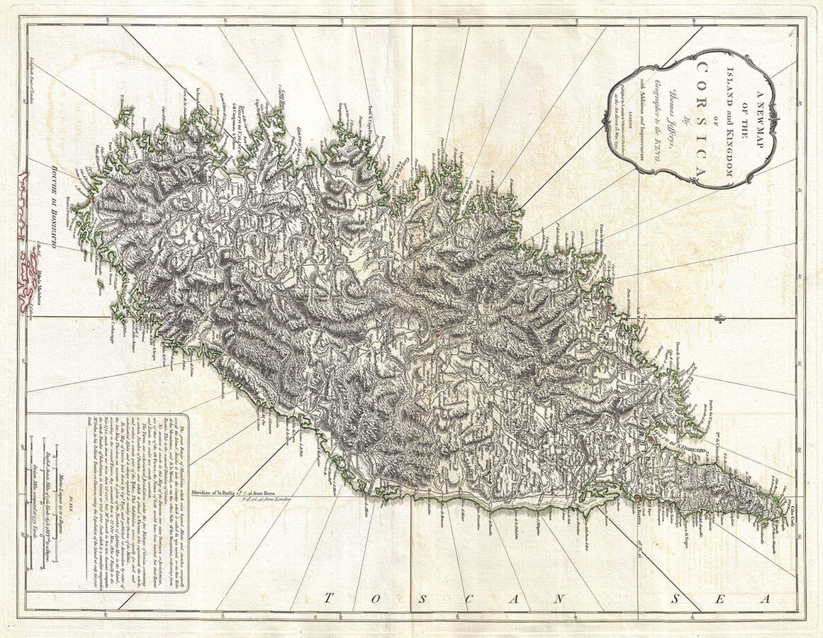 Old Map of Corsica