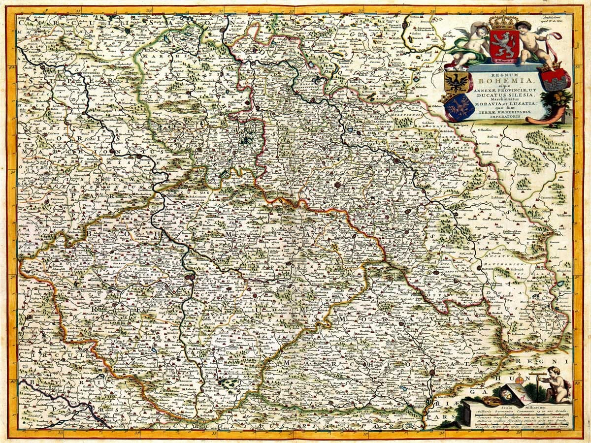 Old Map of Bohemia and Czech-Republic