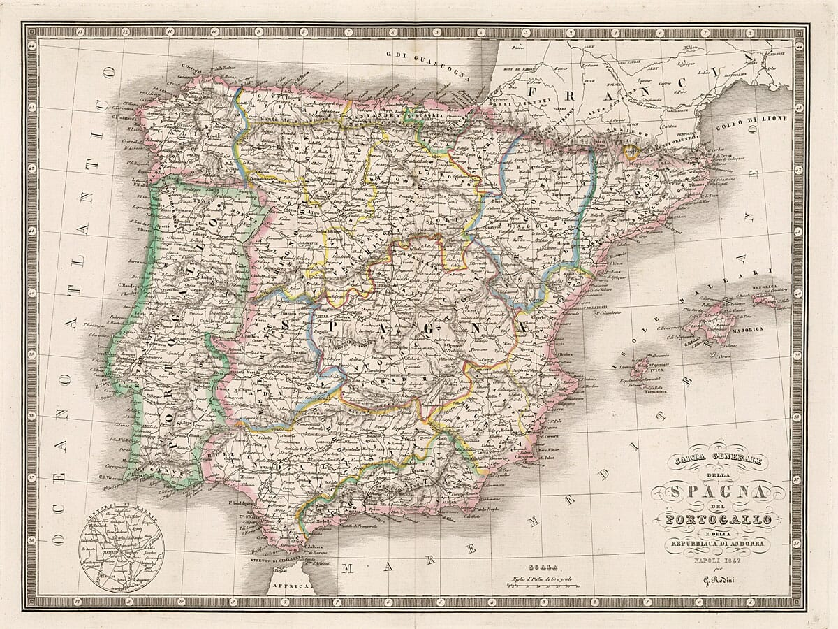 Old Map of Andorra