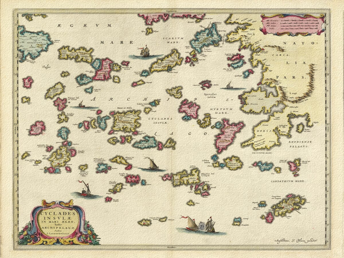 Old Map of Greek Islands