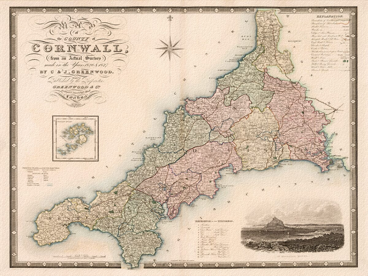 Old Cornwall Map Greenwood