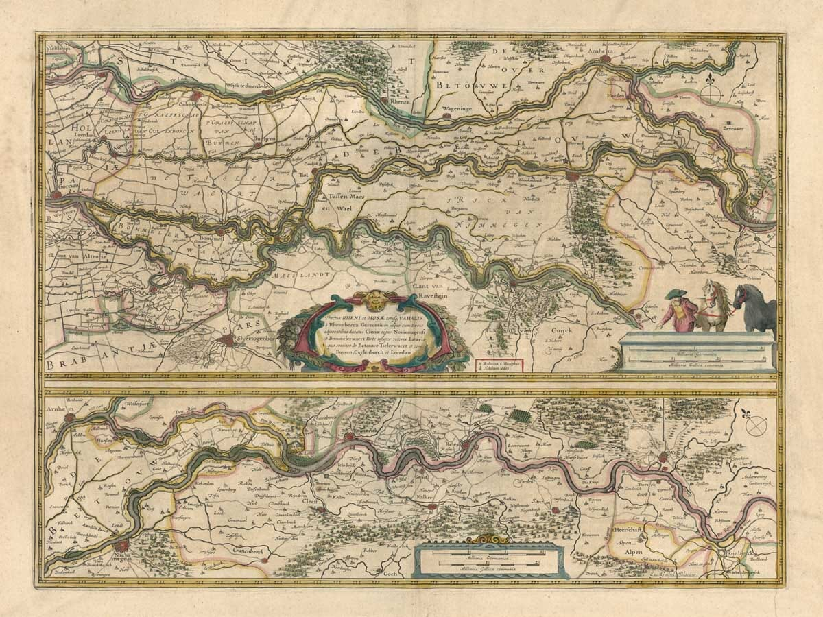 Old Map River Rhine