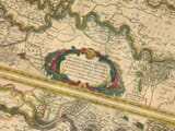 Old Map River Rhine Detail