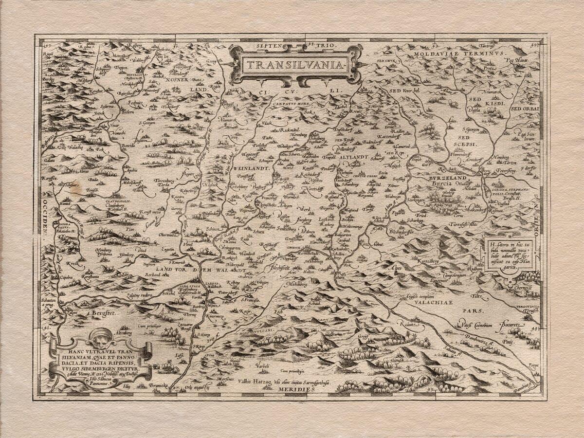 Old Map Transilvania Romania