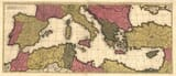 Large old map of Mediterranean